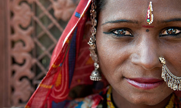 India Rajasthani woman close up portrait with traditional rajasthan dress stock photo