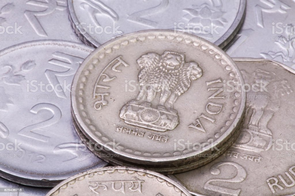 India Rupees coins stock photo