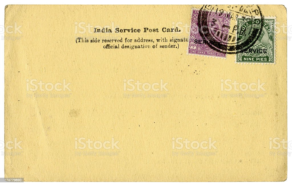 India Service Post Card, 1938 royalty-free stock photo