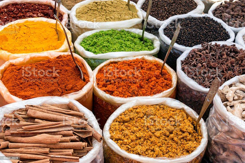 India Spice Market Stall stock photo