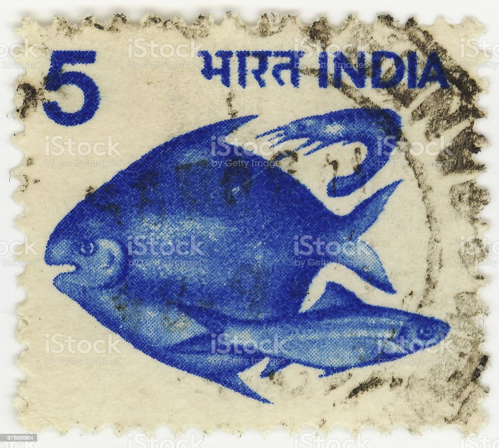 India Stamp With Fish royalty-free stock photo