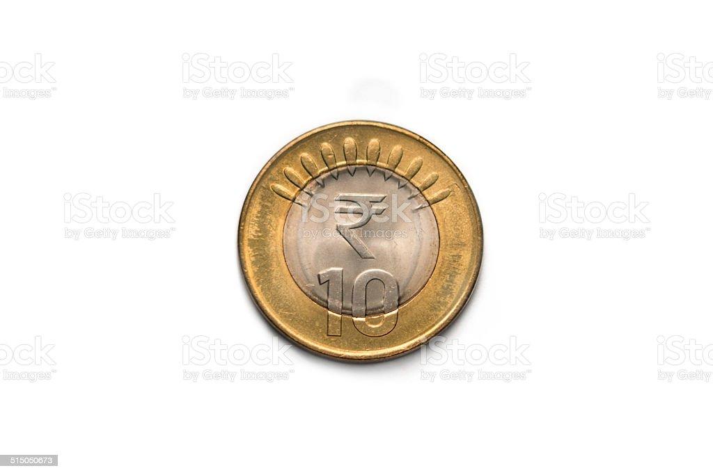 India Ten Rupees Coin stock photo