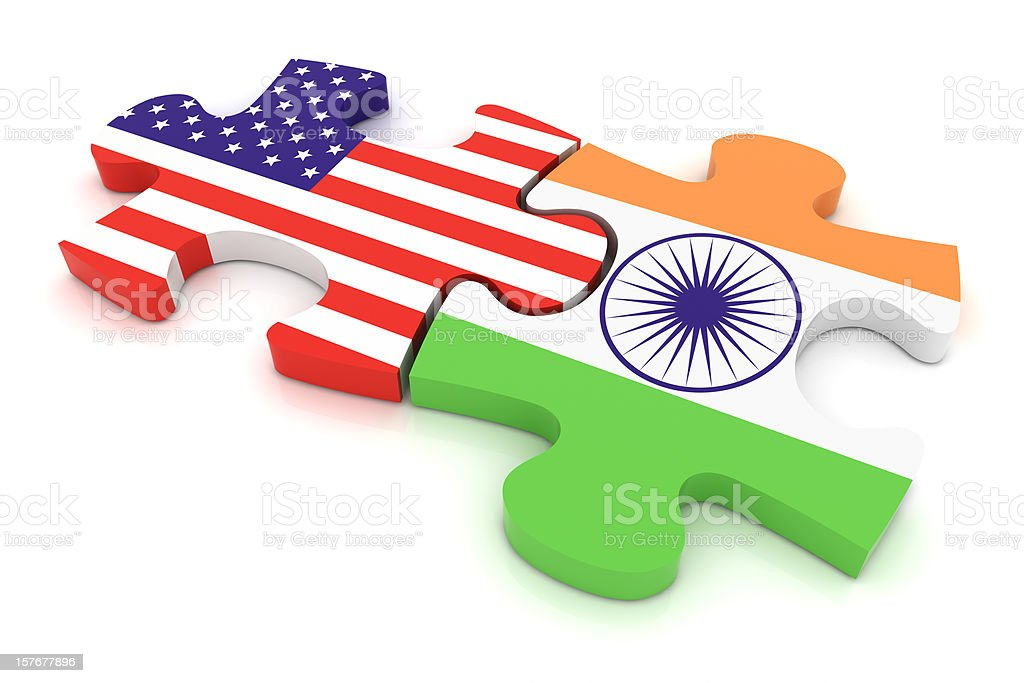 India USA Puzzle Concept stock photo