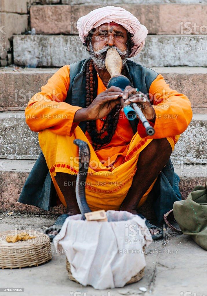 India: Varanasi Snake Charmer stock photo
