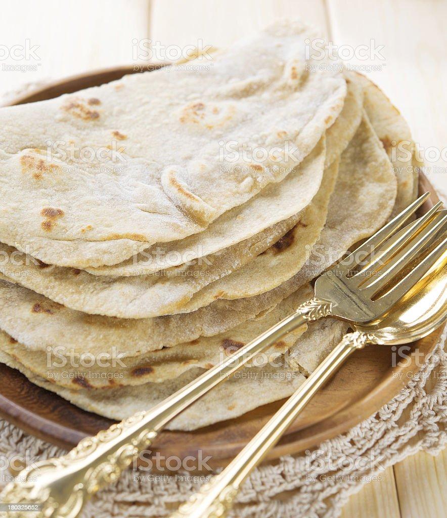 India vegetarian food plain chapatti roti royalty-free stock photo