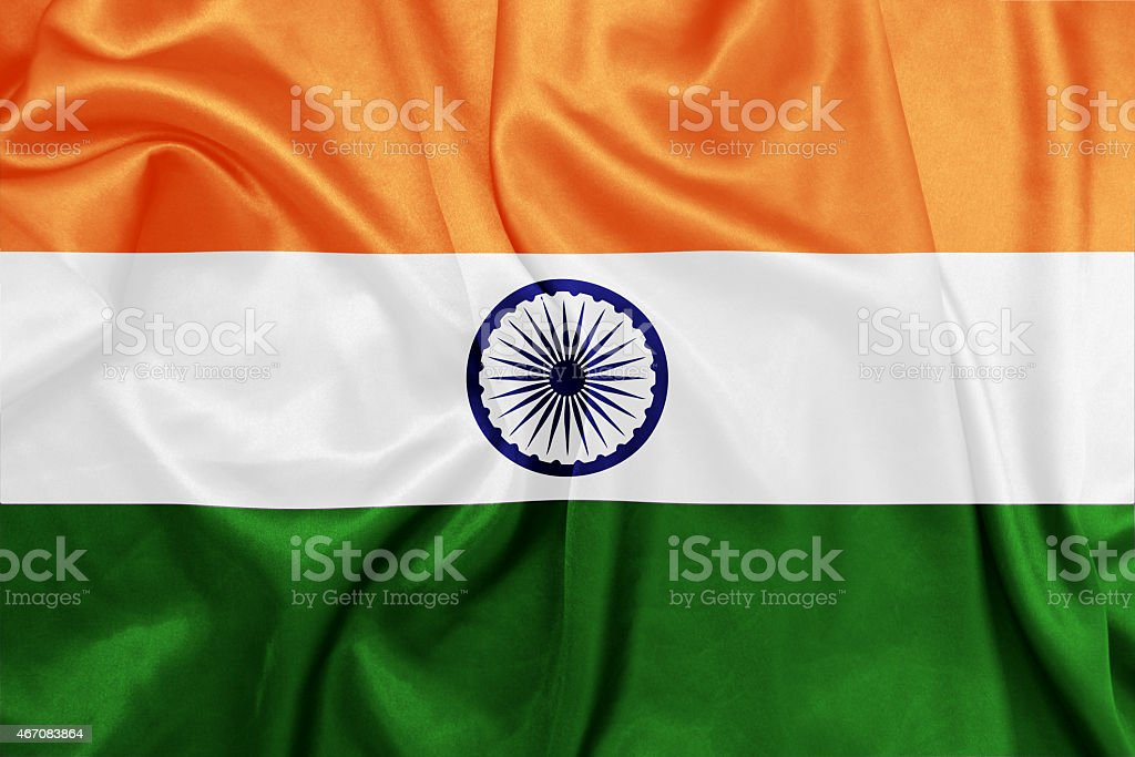 India - Waving national flag on silk texture stock photo