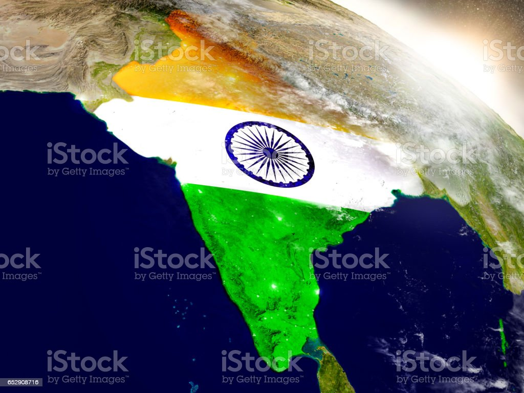 India with flag in rising sun stock photo