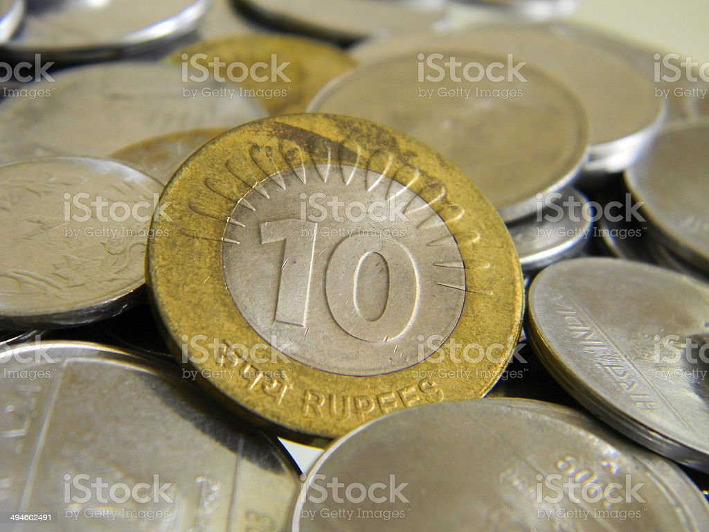Indian 10 Rupee Coin stock photo