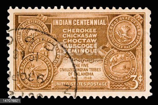 A 1948 issued 3 cent United States postage stamp showing Indian Centennial.