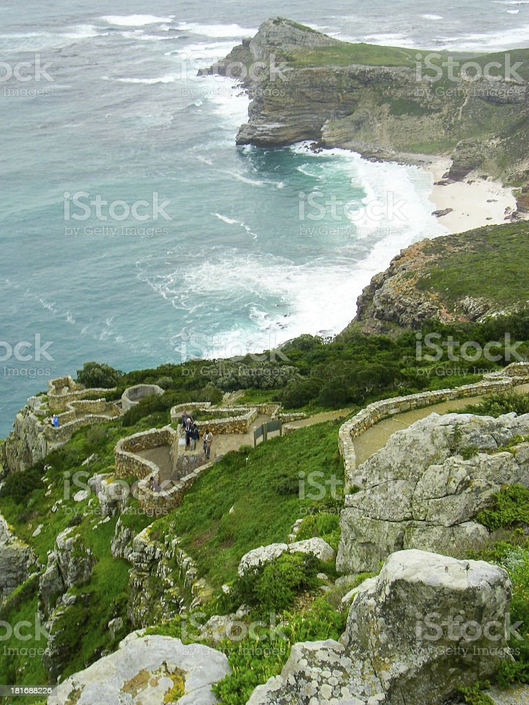 Indian and Atlantic Oceans Meet at Cape Point South Africa stock photo