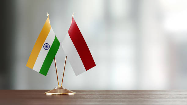 par de bandeira indiana e indonésia em uma mesa sobre fundo desfocado - bandeira da indonesia - fotografias e filmes do acervo