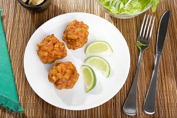Indian Appetiser Onion Bahjias stock photo