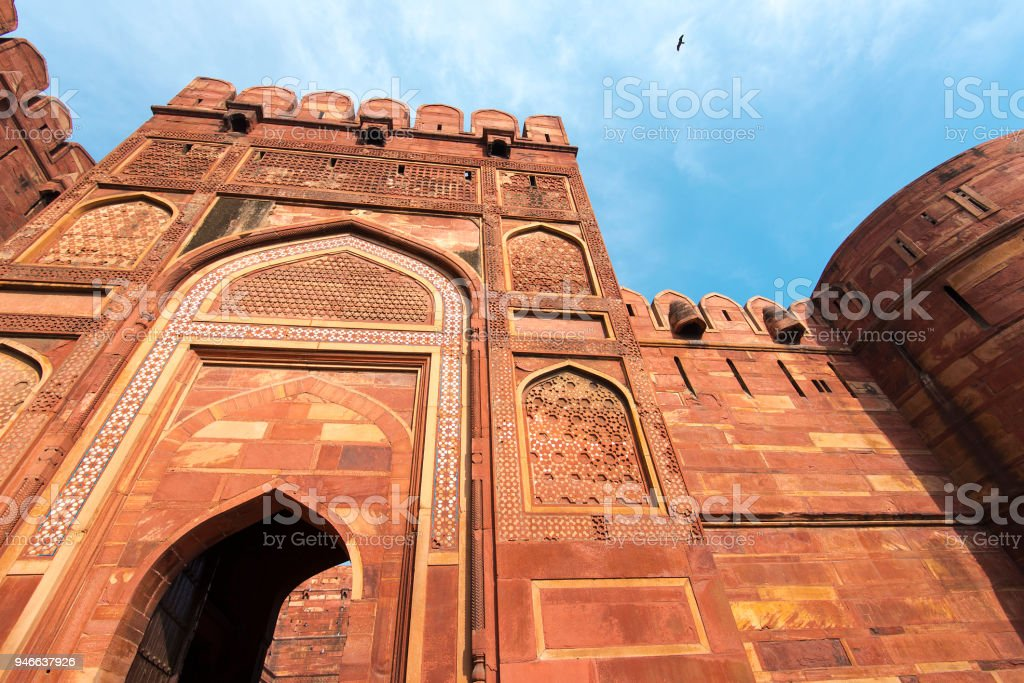 indian architecture of red fort in agra india stock photo more