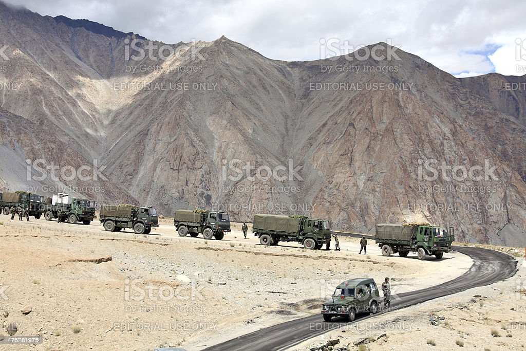 Indian army convoy of trucks stock photo