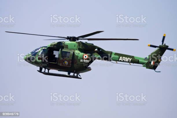 Indian Army Helicopter Dhruv flying overhead