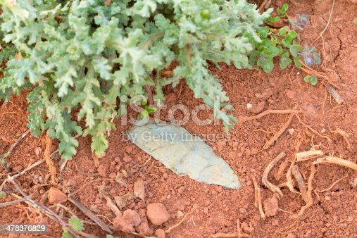 istock Indian Arrowhead Artifact in Dirt 478376829