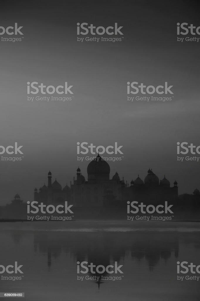 Indian background: Taj Mahal silhouette stock photo