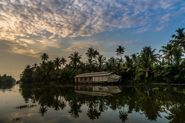Indian backwater reflection, Kumarakom stock photo