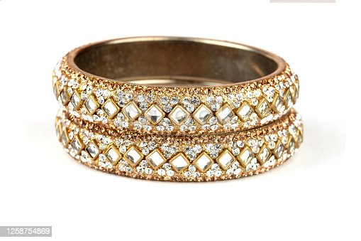 Indian Bangles. Bracelet with diamonds on a white background, Indian Traditional Jewellery,Style, fashion and design of jewelry