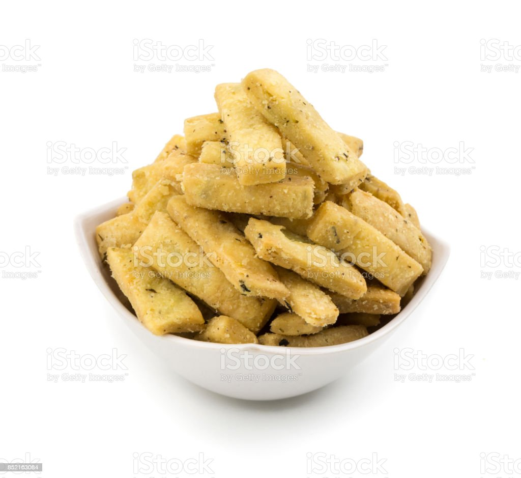 Indian Bhakarwadi Snack stock photo