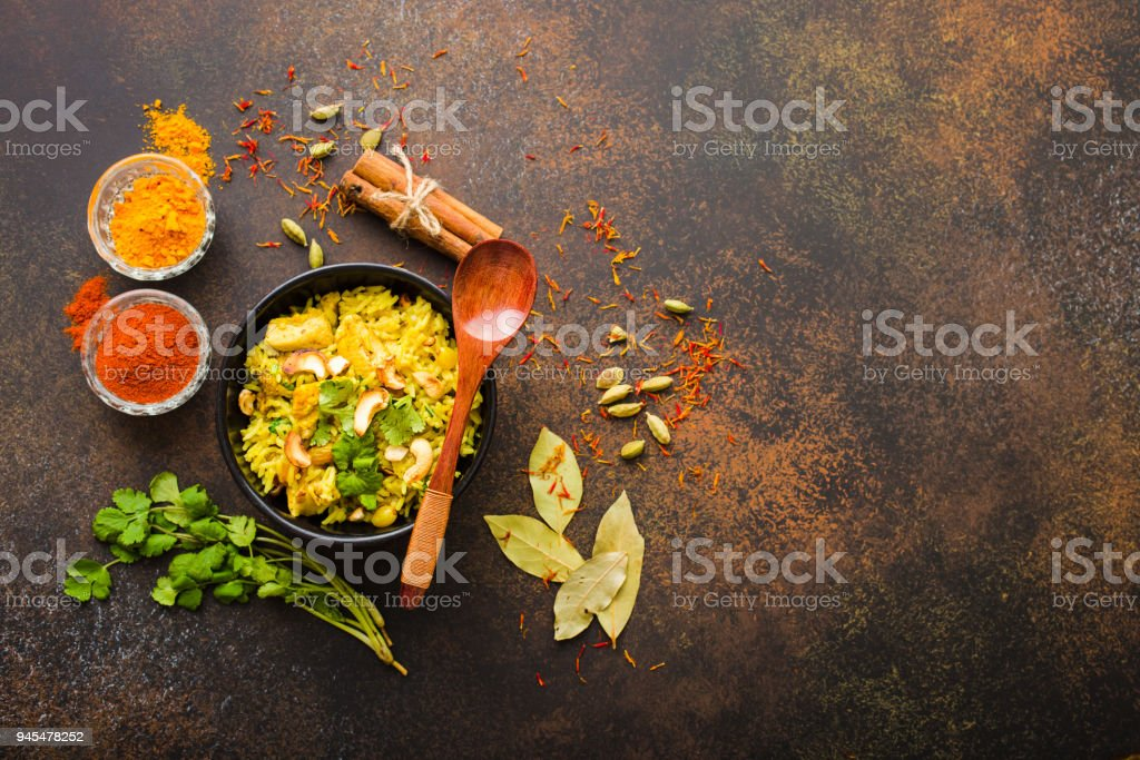Indian biryani rice stock photo