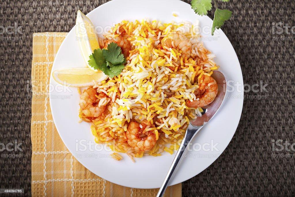 Indian Biryani with Shrimp stock photo