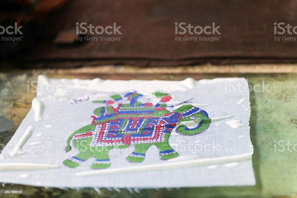 Indian Block Print of Men Riding Elephant stock photo
