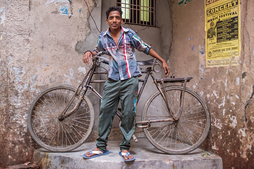 Indian boy and bicycle