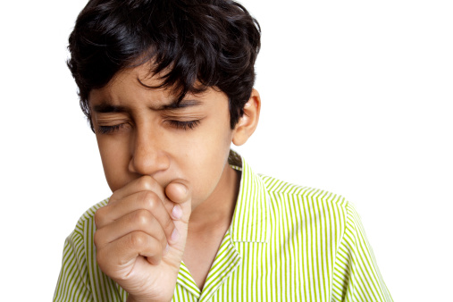 Indian Boy Teenager Coughing Sneezing Isolated On White Background Stock Photo - Download Image Now