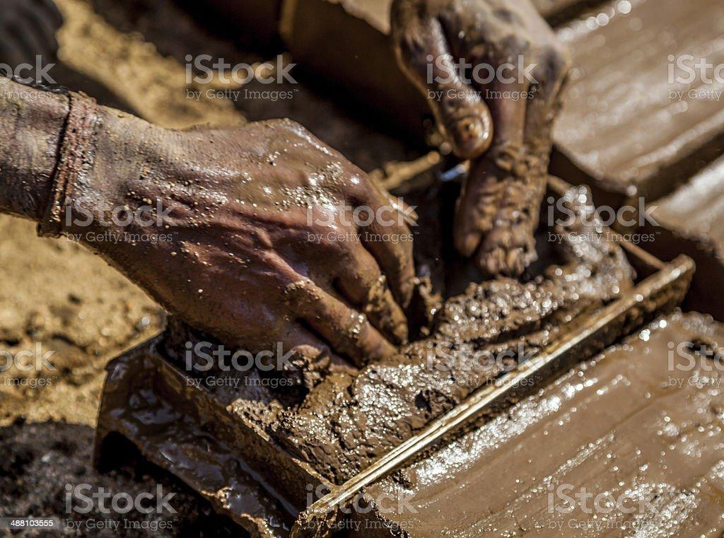 Indian Brick Worker stock photo