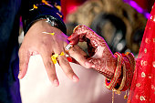 istock Indian Bride putting ring on indian Groom 987388606