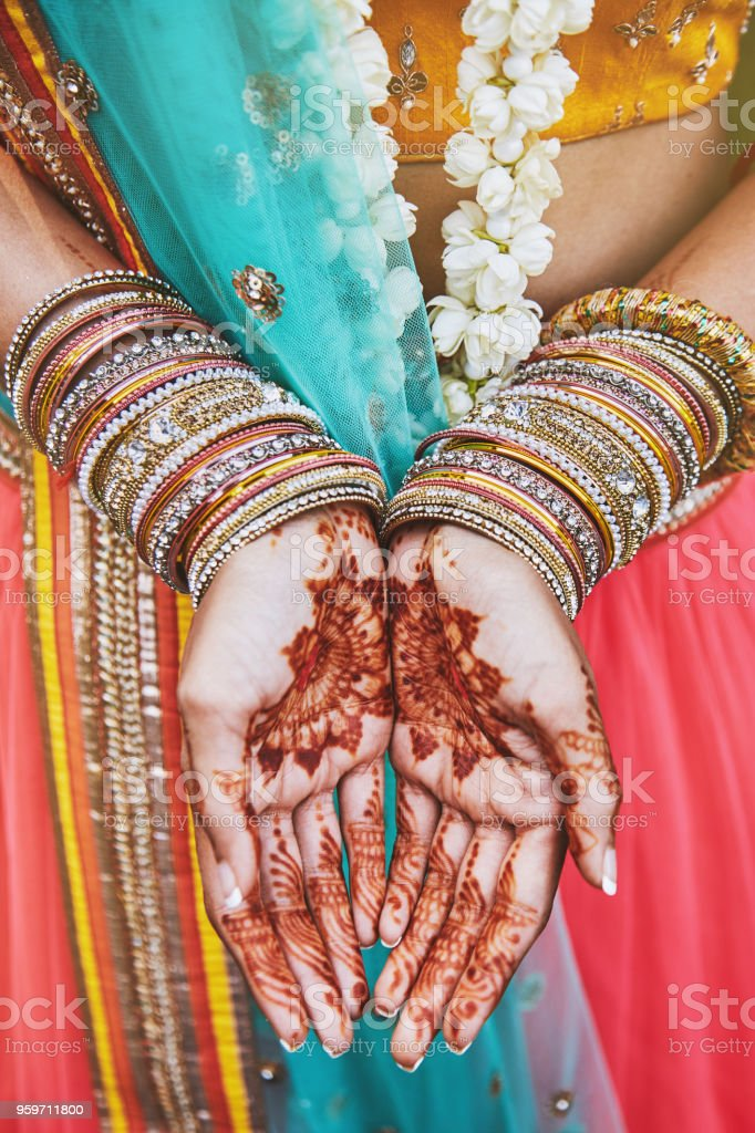 8cfe4faca8149 Indian bride showing menhdi (henna) tattoo on hand with bunch of glitter  bangles on her wrist, close-up - Stock image .