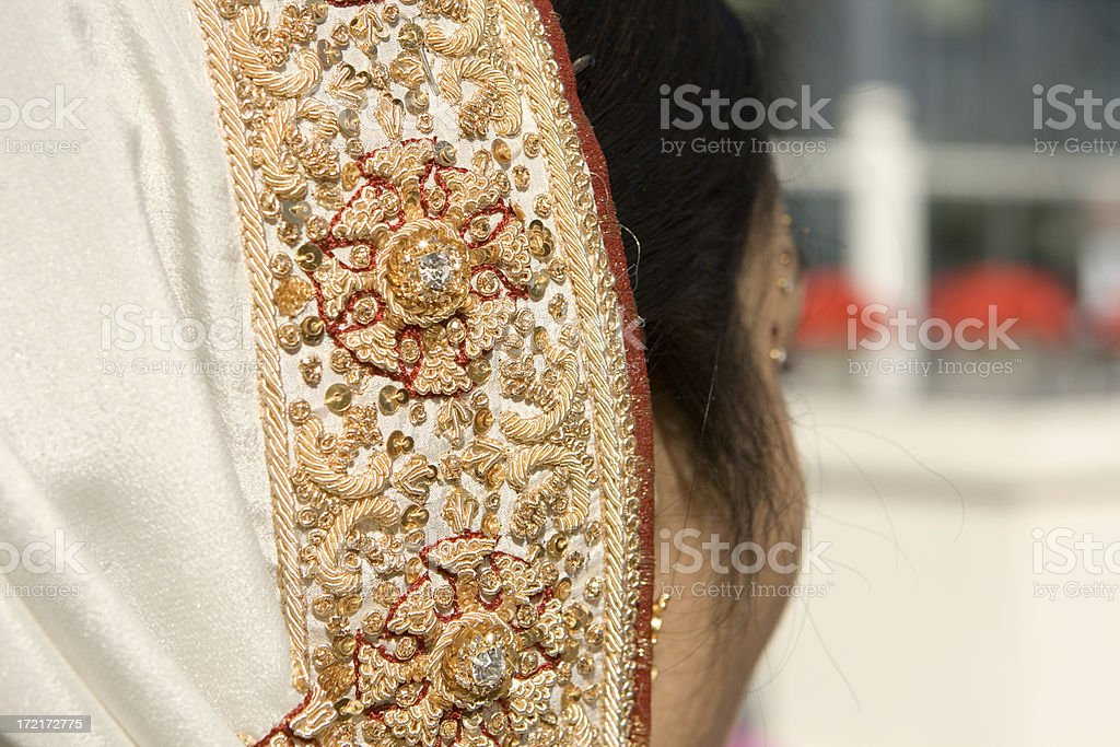 indian bride's head dress stock photo