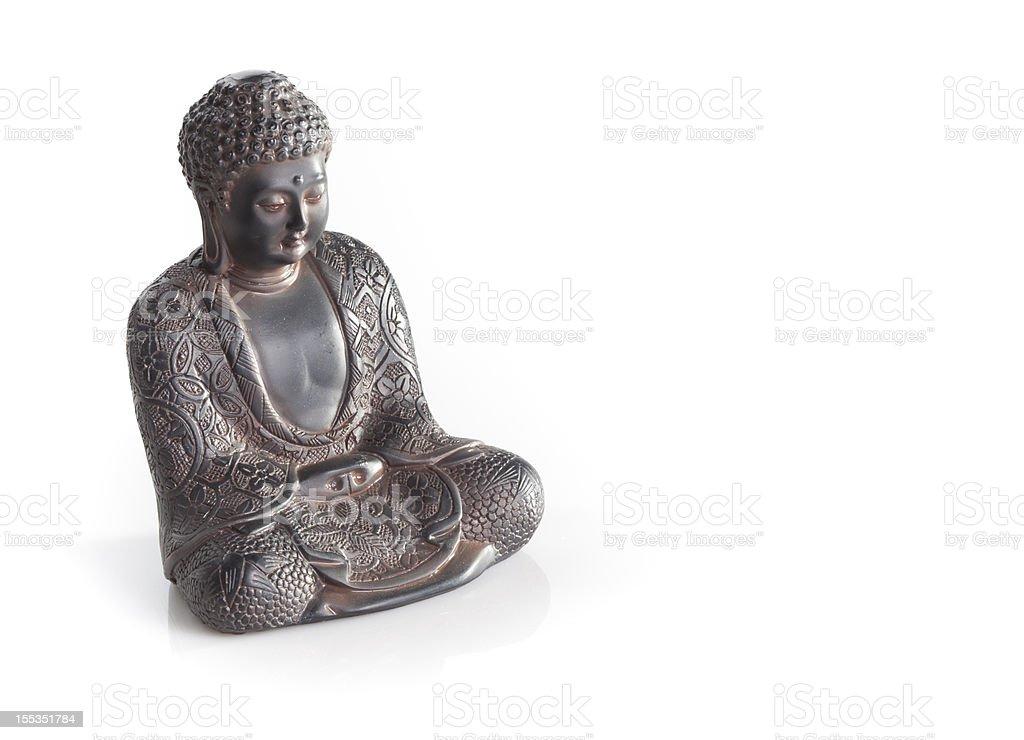 Indian buddha thinking isolated on white background stock photo