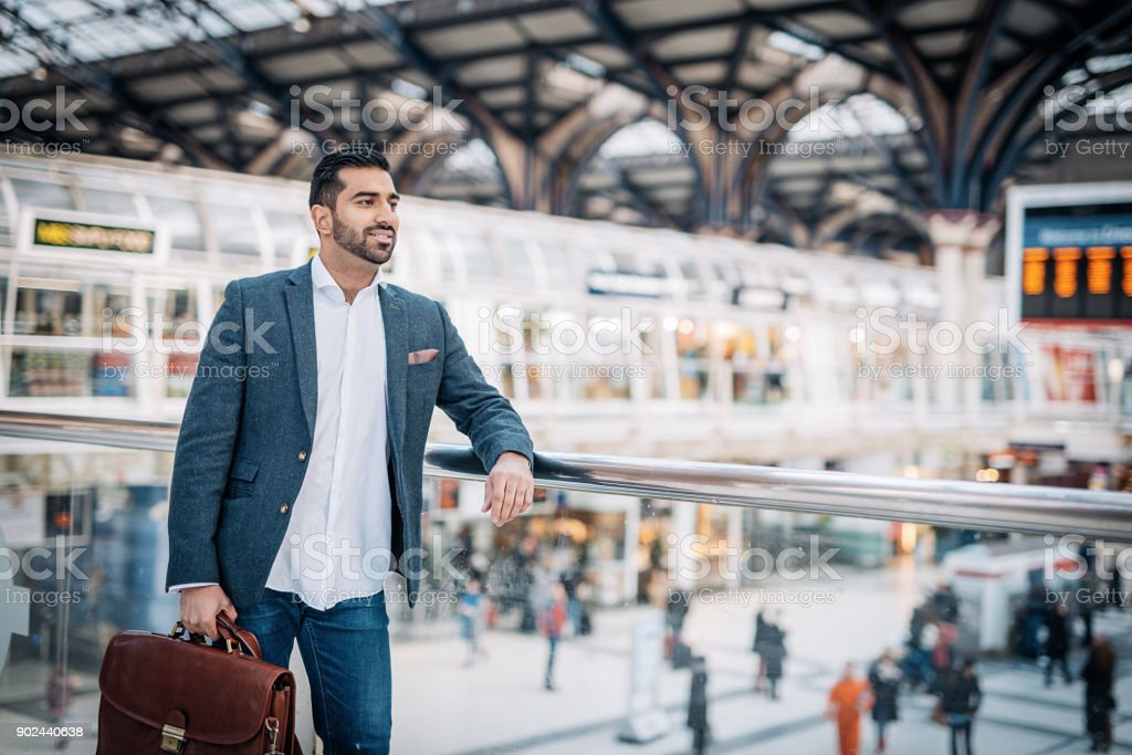 Indian businessman who lives and works in Europe, traveling to work...
