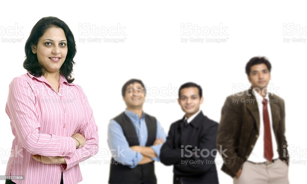 Indian Business Person Team Isolated on White royalty-free stock photo