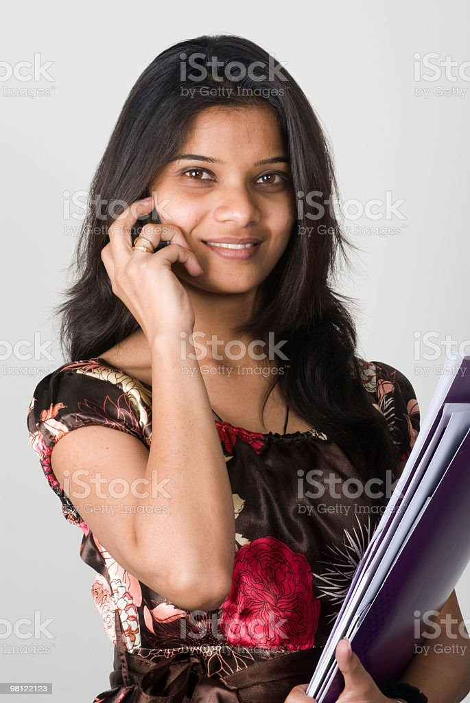 Indian Business Woman talking on cell-mobile royalty-free stock photo