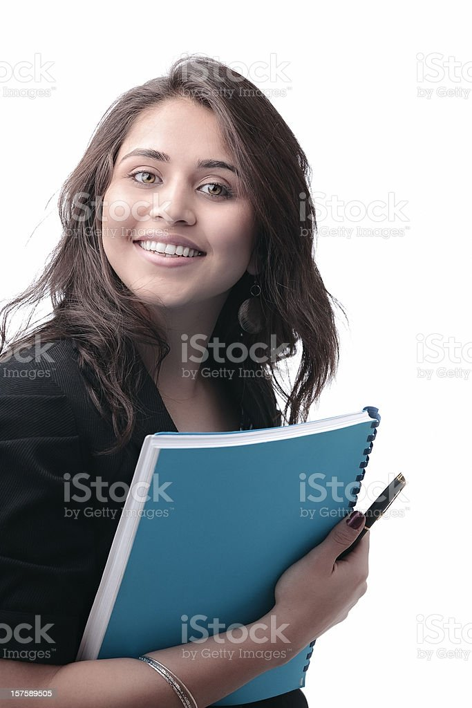 Indian business woman with documents smiling stock photo
