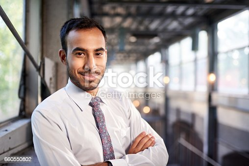 istock Indian businessman smiling confidently with cityscape background 660550802