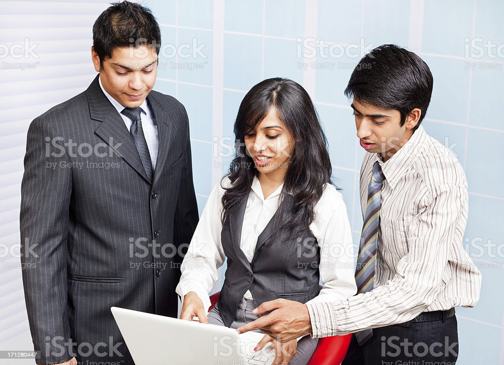 Indian Businesswoman explaining views Businessman Listening Discussing royalty-free stock photo