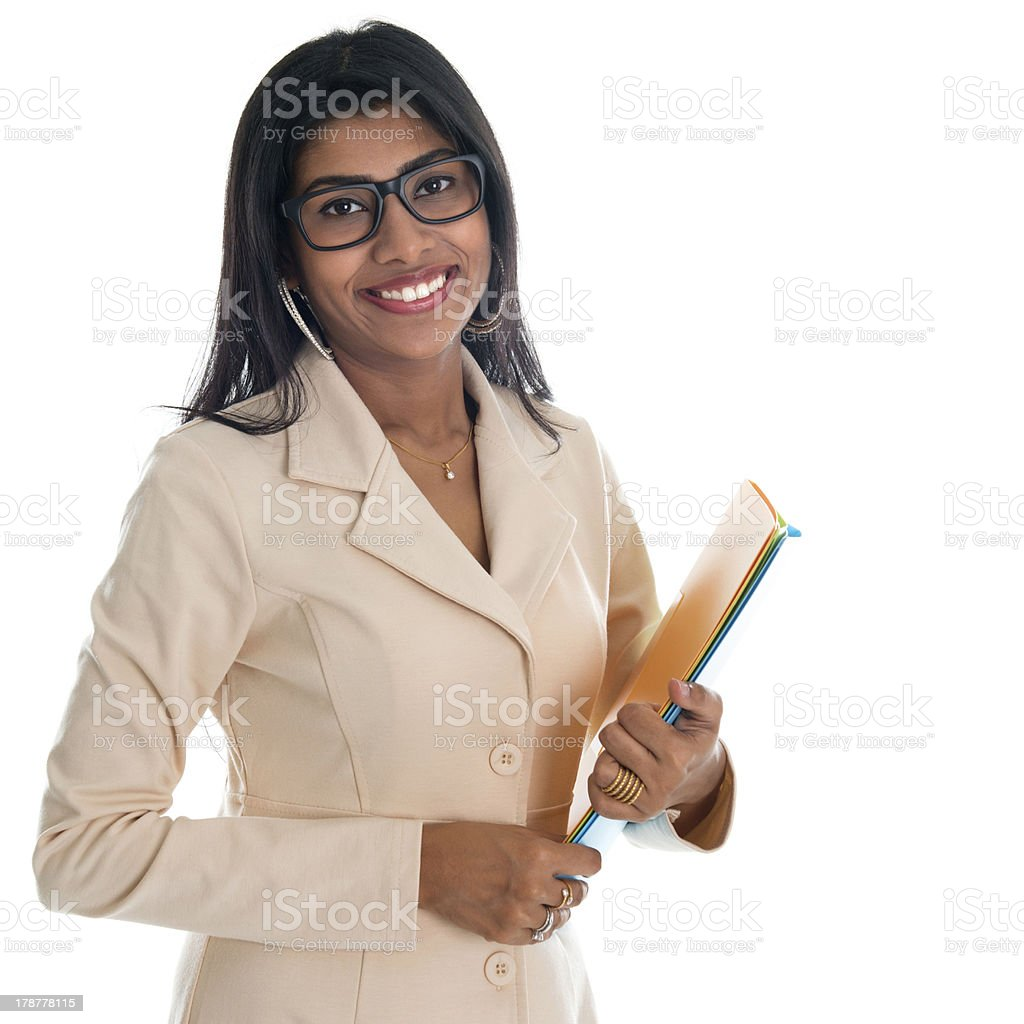 Indian businesswoman holding office file document. royalty-free stock photo