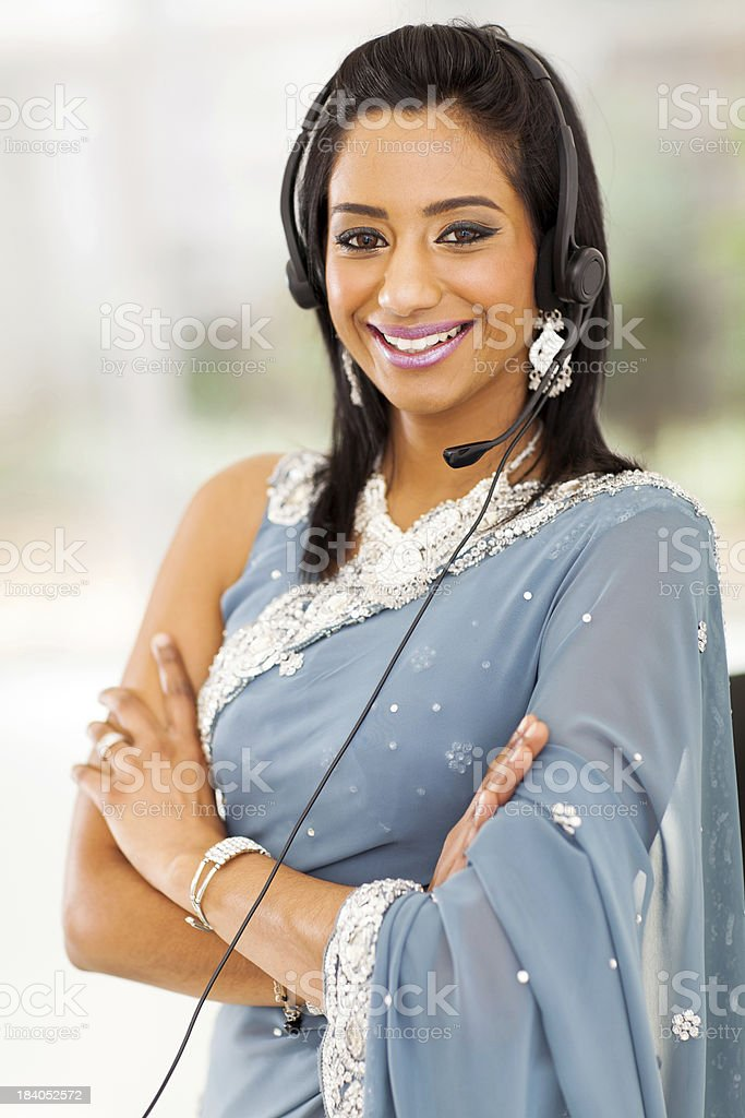 indian bussiness support center operator royalty-free stock photo