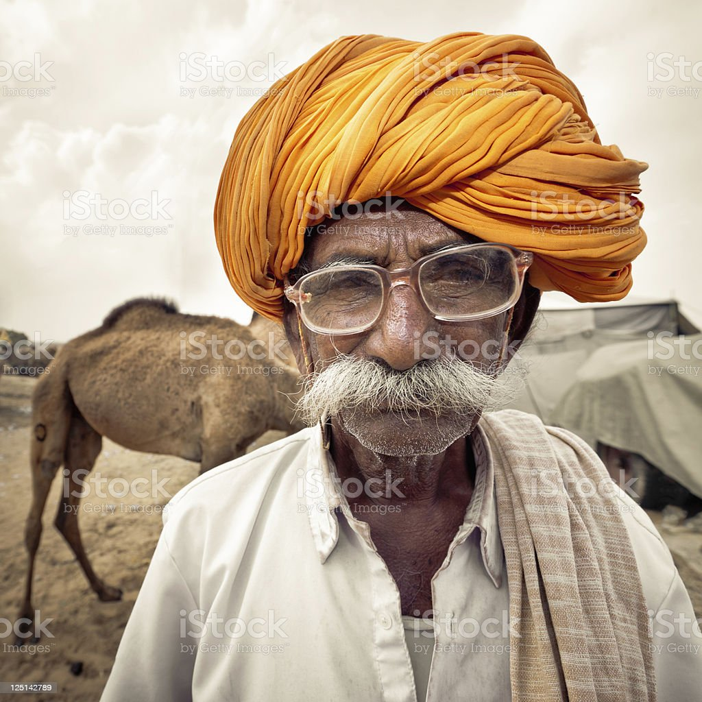 Indian Camel Merchant India Real People Portrait Series stock photo
