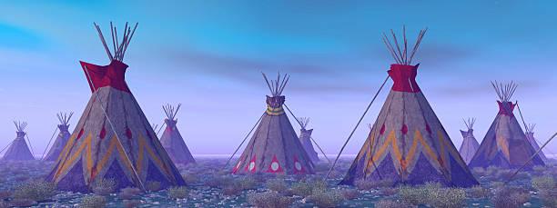 indische camp im morgengrauen - indianer tipi stock-fotos und bilder