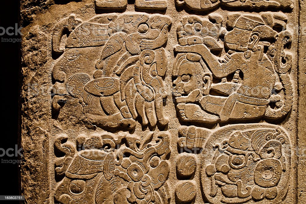 Indian carvings on a wall stock photo