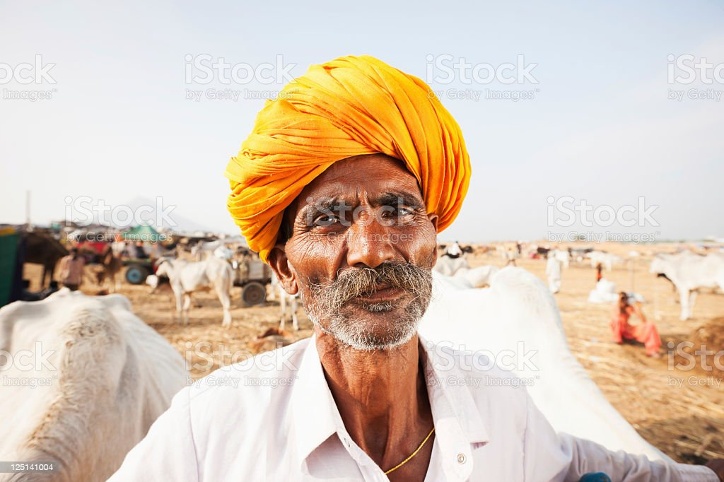 Indian Cattle Merchant Pushkar Camel Fair Real People Portrait Series stock photo