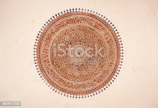 istock Indian Ceiling Mandala Mural 907617222