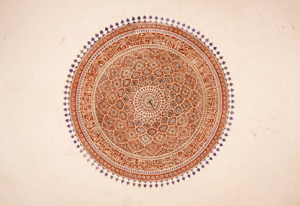 indian ceiling mandala mural - hinduism stock photos and pictures