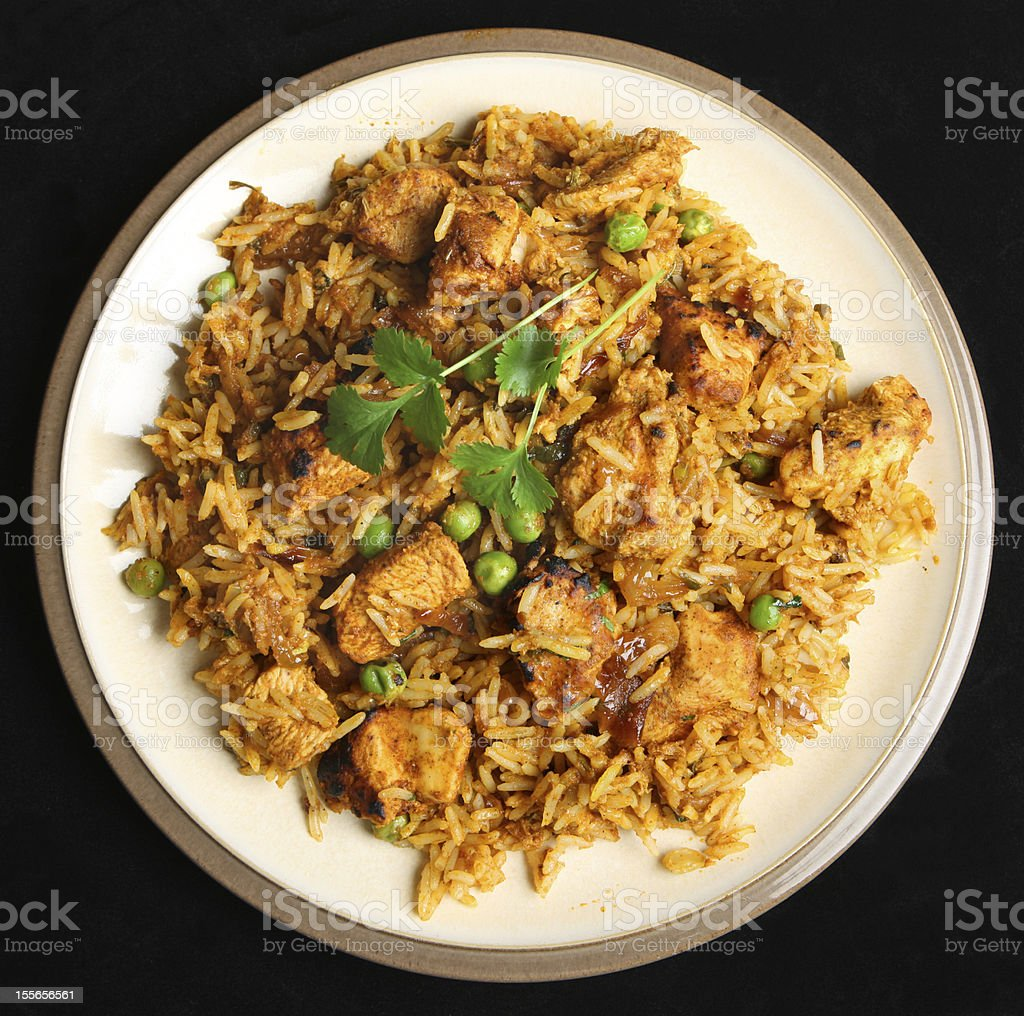 Indian Chicken Biriyani Curry Food stock photo