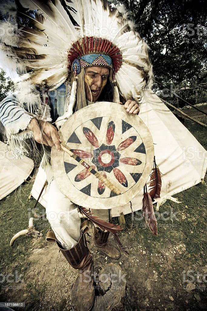 Indian Chief Dancing stock photo